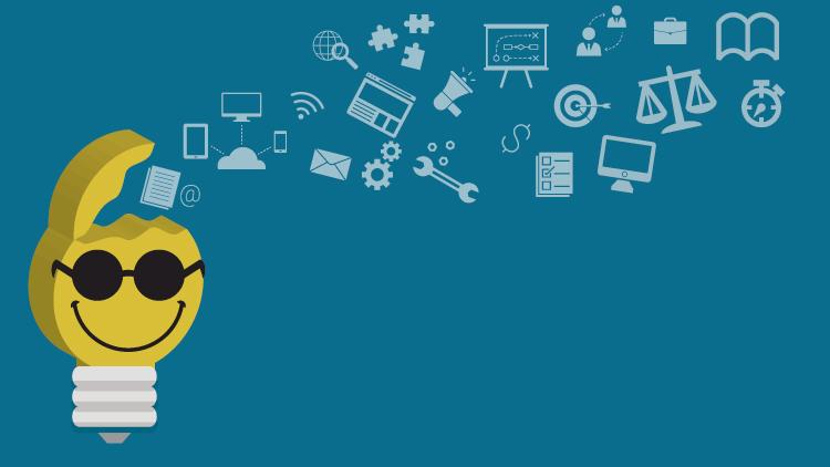 Imagem em destaque: Desenho colorido com fundo azul escuro. À esquerda há a ilustração de uma lâmpada, em que a parte que acende é amarela e tem o smile de óculos escuro e sorriso. Da parte superior saem ícones como cifrão, balança, relógio, bússola, conexão entre nuvem, celular, computador e tablet, um megafone, um alvo, peças de quebra-cabeça, livro, maleta, bússola e outros. Fim da descrição.
