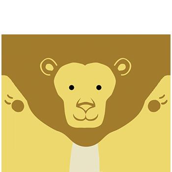 Desenho infantil do tronco e cabeça de um leão com os braços abertos e sorrindo.