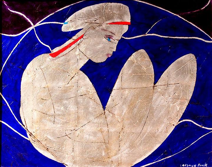 Descrição da imagem: reprodução de uma das obras do artista Gregory Fink. A pintura retrata o rosto de uma mulher de perfil com uma fita vermelha na cabeça. Seu corpo tem formas abstratas sobre fundo azul escuro e preto. Fim da descrição.