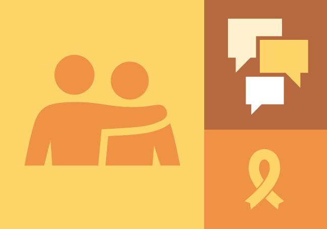 Descrição da imagem: banner virtual dividido em três retângulos de diferentes tamanhos nas cores amarela, marrom e laranja. No maior deles, à esquerda, pictograma de duas pessoas perfiladas, uma com o braço sobre os ombros da outra; no canto superior direito, balões de fala. No canto inferior direito, um segmento de fita em espiral.