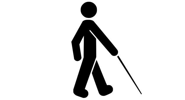 Ilustração de pessoa andando com bengala, indicando deficiência visual