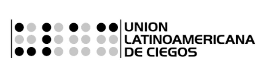 Imagem do logo da ULAC.. Nele, há iniciais em Braille à esquerda e o nome em espanhol da União à direita.