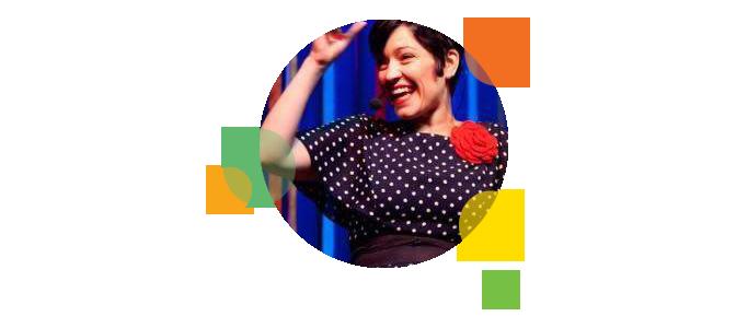 Descrição da imagem: foto em formato circular de Kiara Terra. Ao redor da imagem há pequenos círculos nas cores laranja, amarelo e verde.