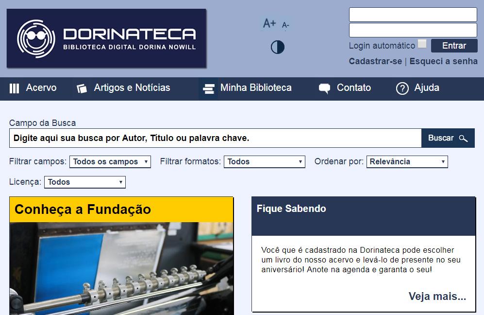 Descrição da imagem:reprodução da tela inicial da Dorinateca, que conta com barra de busca de títulos, espaço para login e notícias da Fundação Dorina.