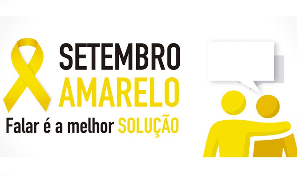 """Descrição da imagem: banner virtual com o texto """"Setembro Amarelo - falar é a melhor solução"""". Ao lado esquerdo, fita amarela que simboliza a campanha. Ao lado direito, ilustração de duas pessoas e um balão de fala."""