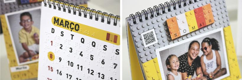 Descrição da imagem: duas fotos exibindo detalhes do Calendário, como o braille e o QR Code.