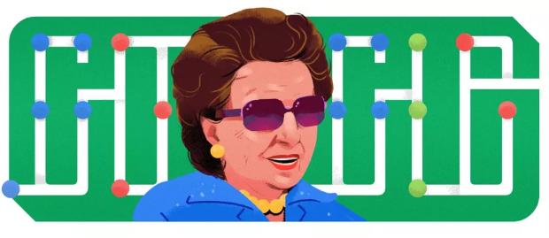 Descrição da imagem: ilustração do rosto de Dorina Nowill à frente da palavra Google, também representada pelos pontos do braille.