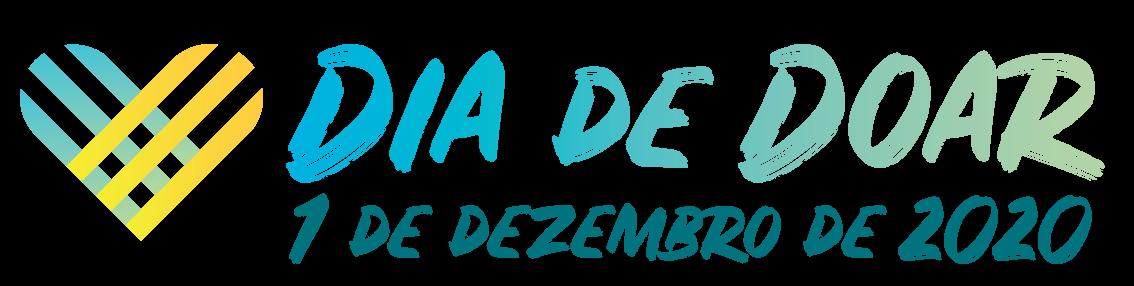 Descrição da imagem: logotipo da campanha Dia de Doar, formado por um coração azul e amarelo e o texto 1 de dezembro