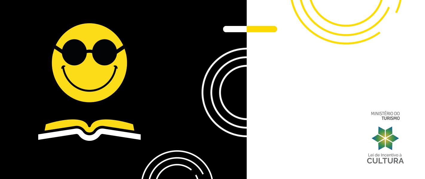 Descrição da imagem: banner virtual nas cores preta, branca e amarela com ilustração do smile da Fundação Dorina diante de um livro aberto. Ao lado direito há o logotipo do Ministério do Turismo (Lei de Incentivo à Cultura).