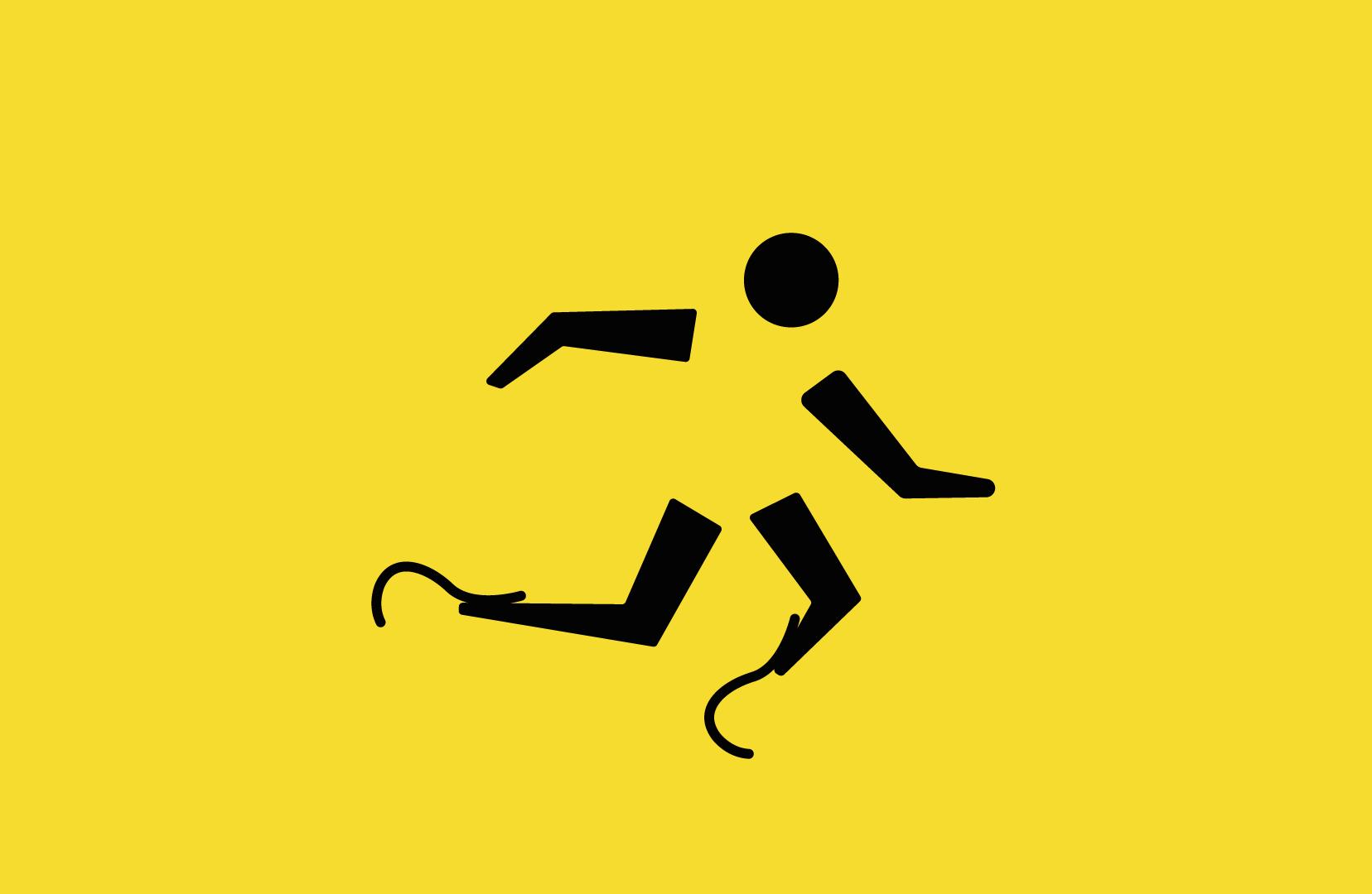 A imagem mostra o pictograma da modalidade atletismo