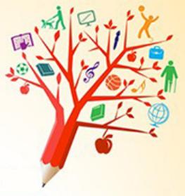 Descrição de imagem: lápis vermelho que no topo, simulando uma árvore, tem ícones diversos relacionados à deficiência, educação, tecnologia, leitura. Fim da descrição.