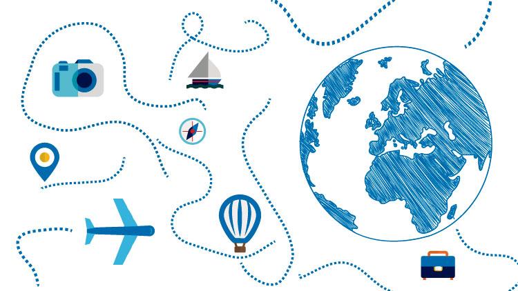 Imagem em destaque: Desenho colorido. Do lado direito, em destaque, o desenho de um globo terrestre nas cores azul e branco. Distribuídas pelo restante da imagem há linhas pontilhadas na cor azul e elas estão junto com ícones como: avião, balão, barco, máquina fotográfica, bússola, maleta de viagem e o sinal de localização. Fim da descrição.