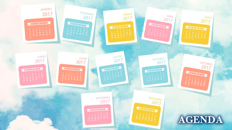 Imagem em destaque: Desenho colorido. Fundo de céu azul com nuvens. Distribuídos em três fileiras a imagem de doze calendários representando os meses do ano de 2017. No canto inferior direito a palavra Agenda. Fim da descrição.