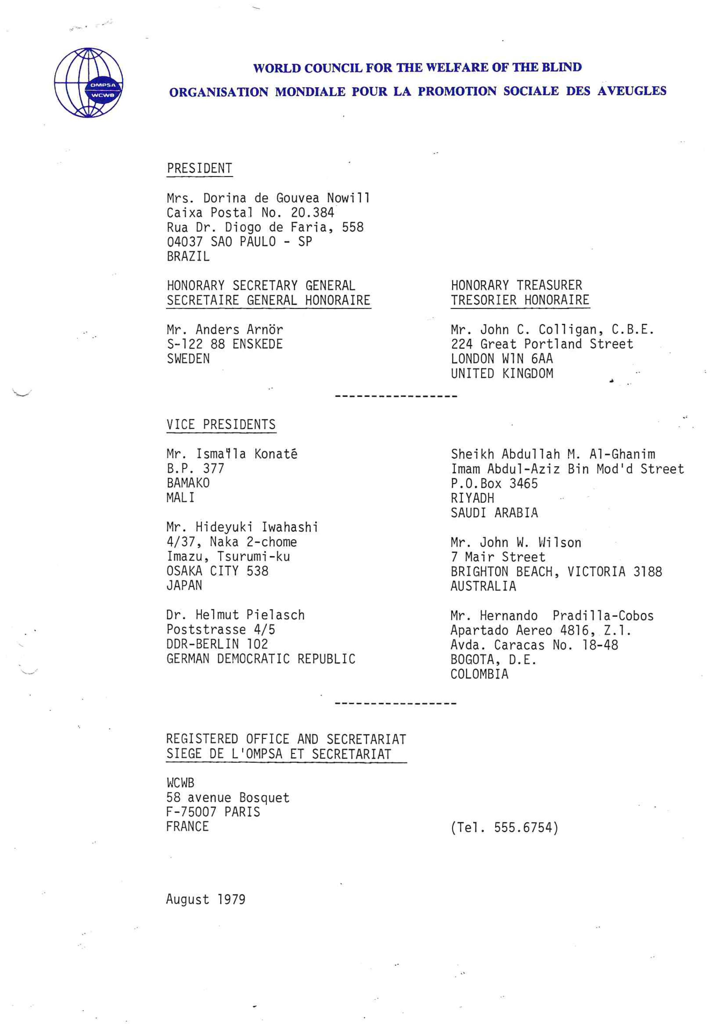 Foto do documento da eleição do Conselho Mundial