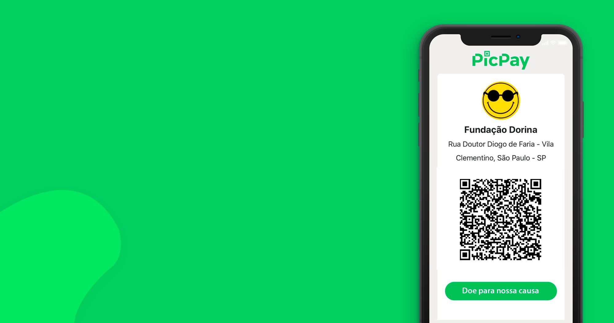 Descrição da imagem: Banner virtual de fundo verde. No canto direito do banner um celular com um aplicativo do PicPay aberto. No centro da imagem ha um QR code e abaixo um botao verde com o texto: Doe para nossa causa.