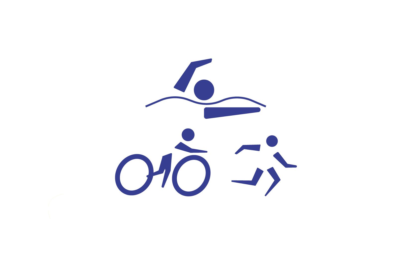 A imagem mostra o pictograma da modalidade triatlo